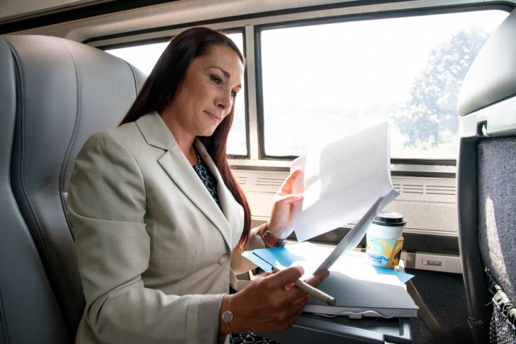 Business women working on the train